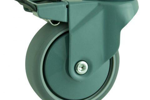 Ruedas de color giratoria  100mm  para  carros,rueda  de  goma gris elástica,eje liso.Montaje con pasador