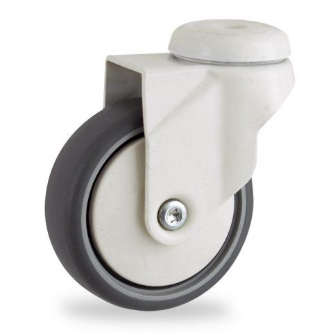 Ruedas de color giratoria con freno 100mm  para  carros,rueda  de  goma gris elástica,eje liso.Montaje con pasador
