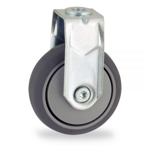 Rueda de acero galvanizado fija  75mm  para  carros,rueda  de  goma gris elástica,eje liso.Montaje con pasador