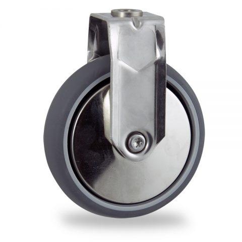 Rueda INOX fija  150mm  para  carros,rueda  de  goma gris elástica,eje liso.Montaje con pasador