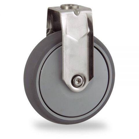 Rueda INOX fija  125mm  para  carros,rueda  de  goma gris elástica,rodamiento a bolas de precision.Montaje con pasador