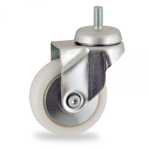 Rueda de acero galvanizado giratoria  75mm  para  carros,rueda  de  poliamida,eje liso.espiga roscada