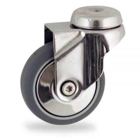 Rueda INOX giratoria  100mm  para  carros,rueda  de  goma gris elástica,eje liso.Montaje con pasador