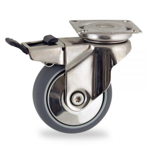 Rueda INOX giratoria con freno 100mm  para  carros,rueda  de  goma gris elástica,eje liso.Montaje con platina