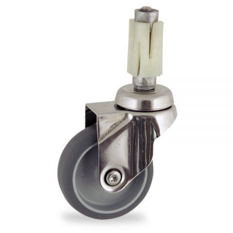 Rueda INOX giratoria  50mm  para  carros,rueda  de  goma gris elástica,eje liso.Montaje con expansivos quadrado de plástico 21/24