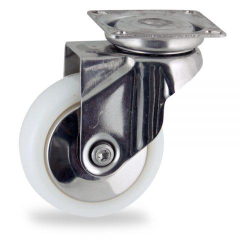 Rueda INOX giratoria  75mm  para  carros,rueda  de  poliamida,eje liso.platina