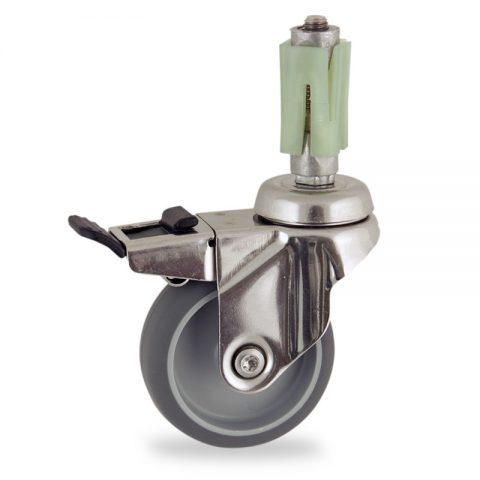 Rueda INOX giratoria con freno 50mm  para  carros,rueda  de  goma gris elástica,eje liso.Montaje con expansivos quadrado de plástico 21/24