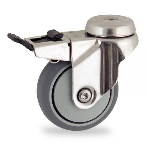 Rueda INOX giratoria con freno 75mm  para  carros,rueda  de  goma gris elástica,eje liso.Montaje con pasador