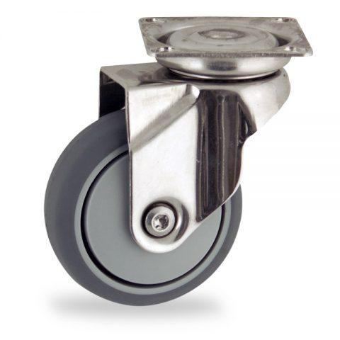 Rueda INOX giratoria  50mm  para  carros,rueda  de  goma gris elástica,rodamiento a bolas de precision.Montaje con platina