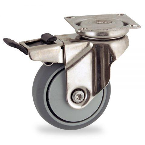 Rueda INOX giratoria con freno 50mm  para  carros,rueda  de  goma gris elástica,rodamiento a bolas de precision.Montaje con platina