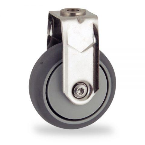 Rueda INOX fija  75mm  para  carros,rueda  de  goma gris elástica,eje liso.Montaje con pasador