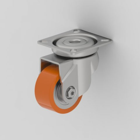Rueda de acero galvanizado giratoria  50mm  para  carros,rueda de poliuretano,rodamiento a bolas.Montaje con platina